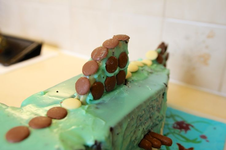 Fortunately I remembered the golden rule of party cake decorating - if it goes wrong, shove more chocolate buttons on.