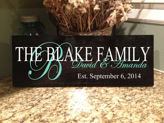 Personalized Family Sign Established Sign by VitalBridalKeepsakes