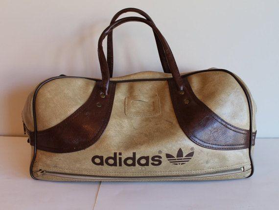 Vintage Adidas Brown and Tan Duffel Bag Gym Bag by FunkieFrocks