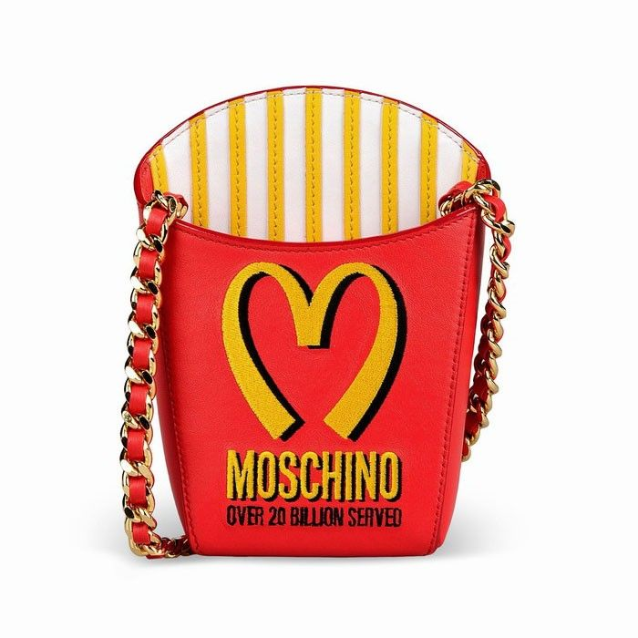 Moschino McDonald French Fries Womens Leather Shoulder Bag Red