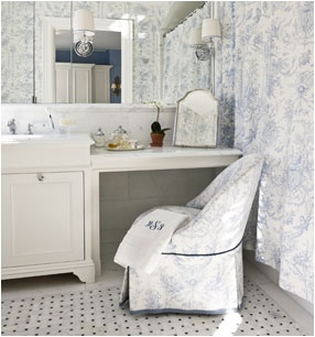 I do like the matching chair apolstery to the shower curtain -- Maureen Footer, designer  bath in NYC apartment