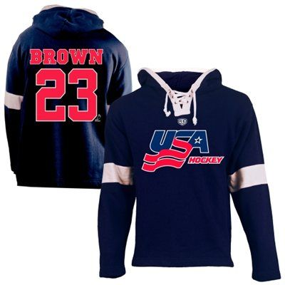Old Time Hockey Dustin Brown USA Hockey Youth Name & Number Hoodie - Navy Blue