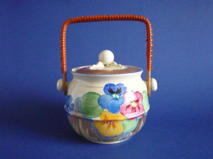Clarice Cliff Bizarre 'Delecia Pansies' Shape 335 Biscuit Jar c1933