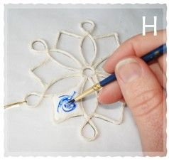 easy to make christmas ornaments - string, PVA and watercolour paint/ink