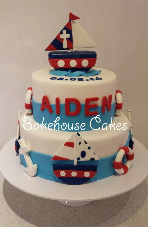 Christening Cake - Nautical theme with cake topper boat