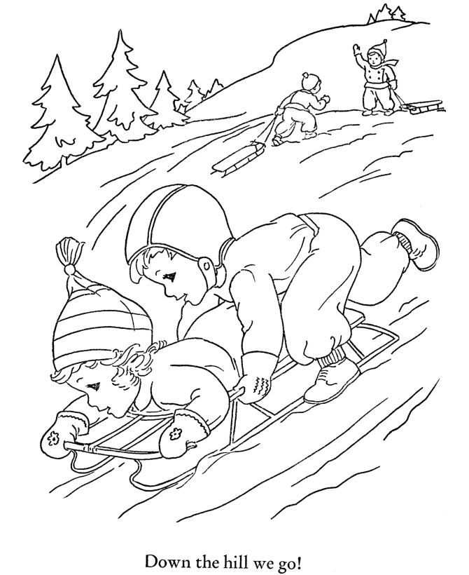Kids Snow Fun coloring Page