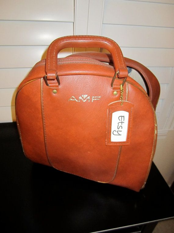 amf bowling ball bag orange rust brown color with gold trim