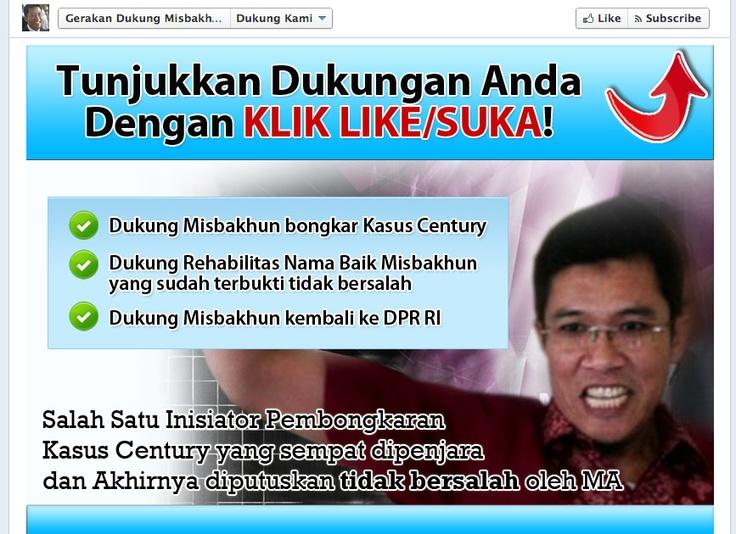 Yang kepikiran, hebat banget supporternya Misbakhun berusaha membangun opini publik di ranah online, dengan bikin aplikasi khusus di FB Page dan bayar Facebook Ads segala.. »» http://www.facebook.com/GerakanDukungMisbakhun/app_208195102528120