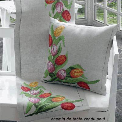 Chemin de table Les tulipes à broder au point de croix compté