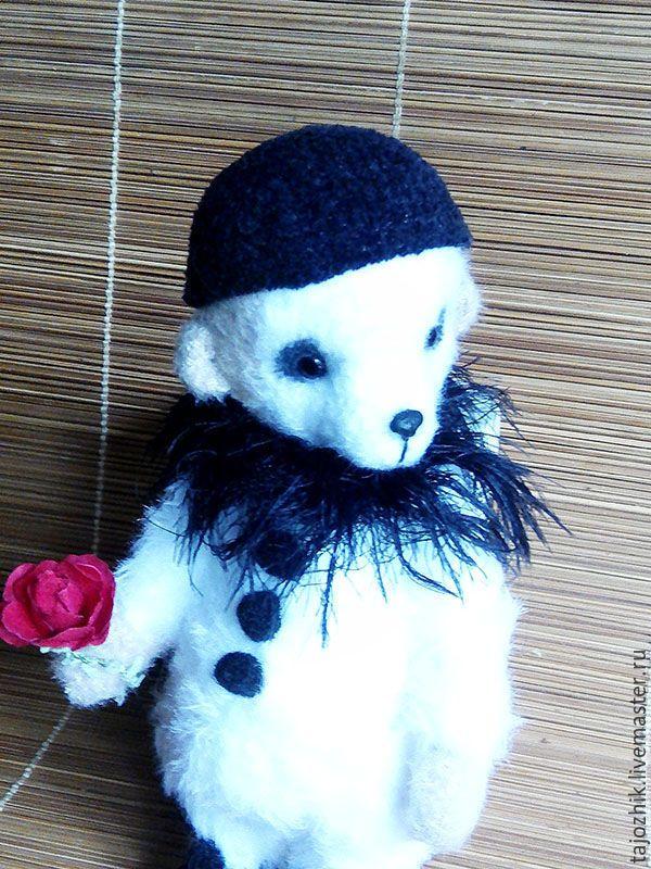 Купить Пьеро - чёрно-белый, мишка тедди, вязаная игрушка, медведь, авторская игрушка, пьеро