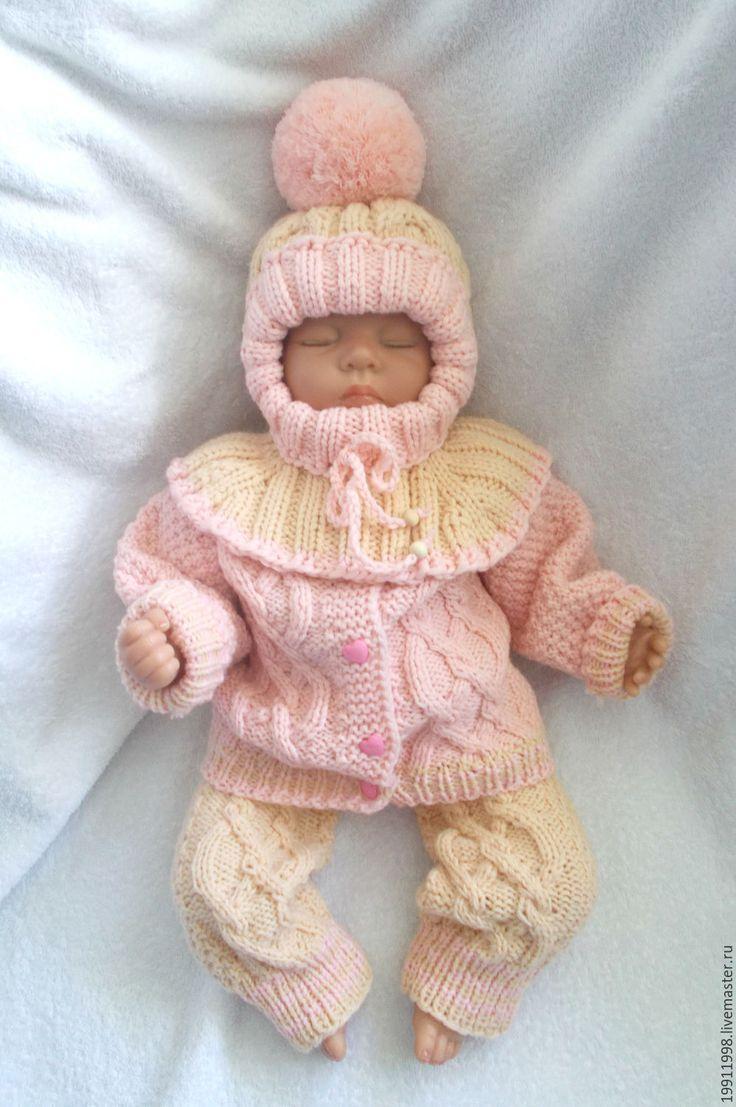 Купить Комплект Кремовый - абстрактный, свитер, для новорожденного, комплект вязаный, комплект для мальчика, комплект для малыша