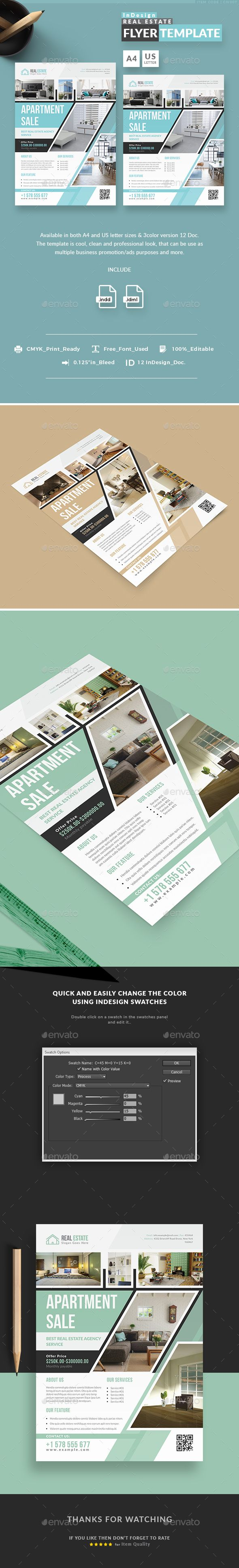 Real Estate InDesign Flyer Templates InDesign INDD - A4 and US Letter Size