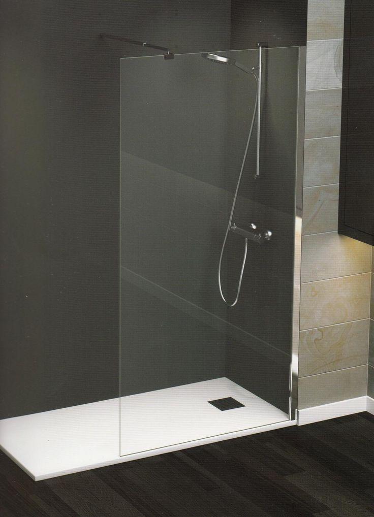 Panel fijo para ducha,  posicionamiento REVERSIBLE, fabricación estandar  Perfil a pared en cromo inox brillo. Cristal  templado6mm transparente...