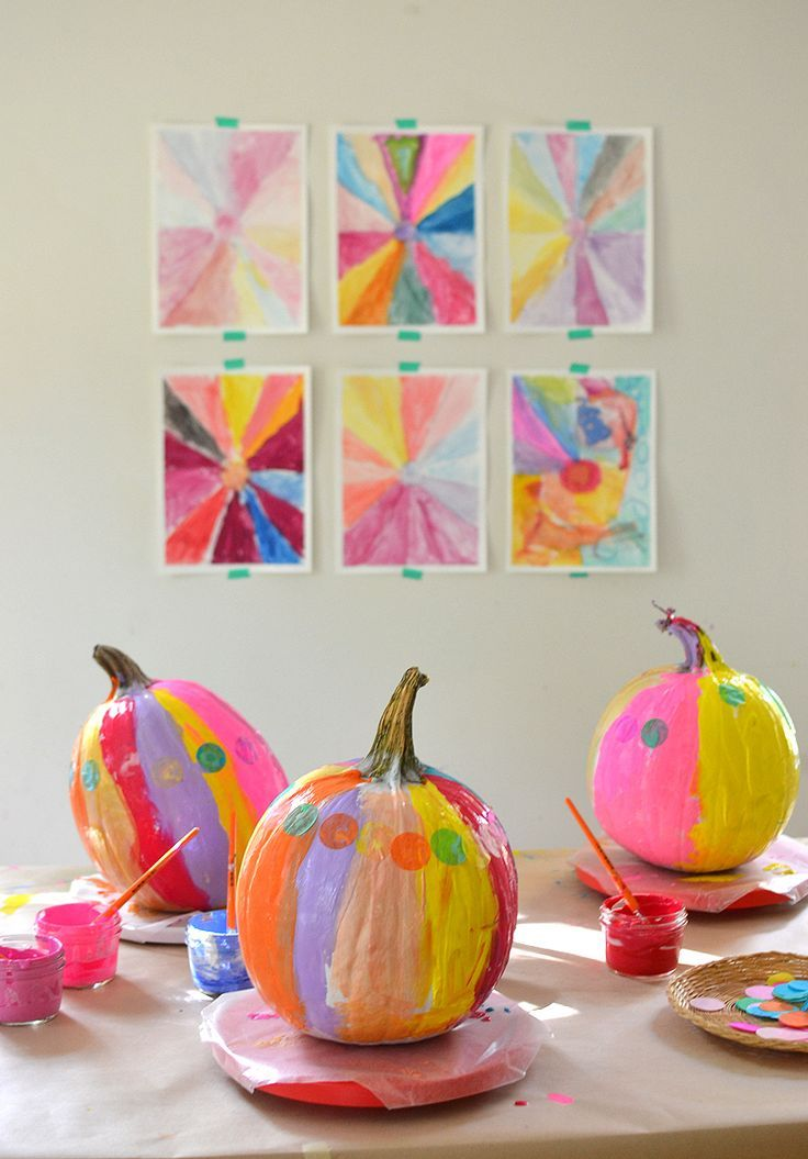 after using this one trick the kids paint vibrant and colorful pumpkins using acrylics and