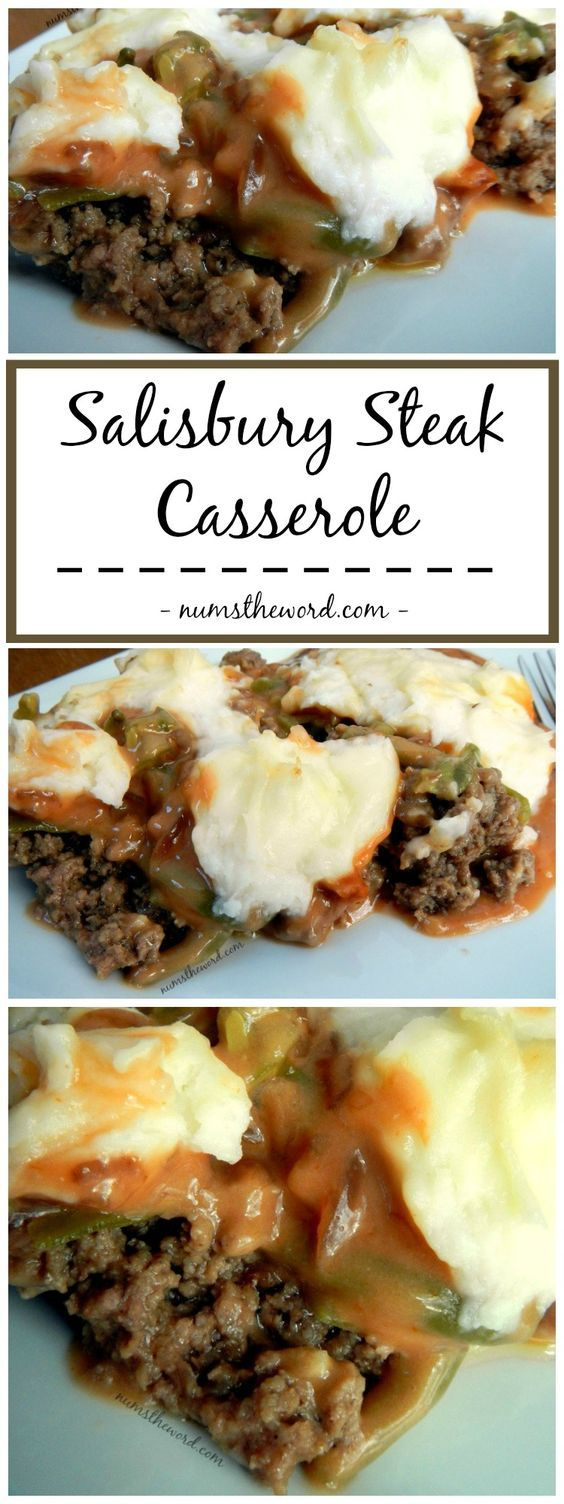 Salisbury Steak Casserole | This was delicious! I uses a 9X9 glass dish. I would  also increase green beans and or sweet peas. They kind of got lost.. If you use a 9X9 dish, maybe increase to  cooking time to 30 min. Will definately cook again.