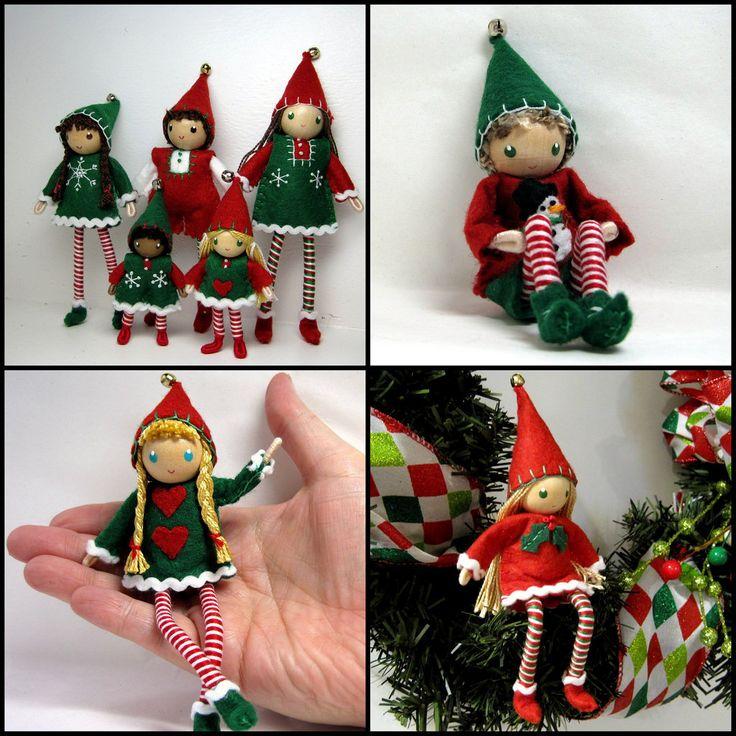 Christmas elf dolls.  Bendy dolls.  Kindness elves.  Bendable felt dolls.  Handmade by www.PNTdolls.com