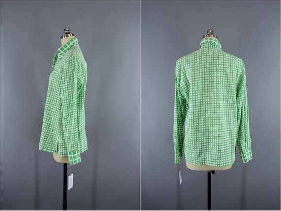 69527264a22ad8 Vintage 1980s CHRISTIAN DIOR Blouse / Green & White Gingham / 80s Shirt /  Preppy Summer Blouse #ChristianDior #PreppyBlouse #DiorBlouse  #CheckeredShirt ...