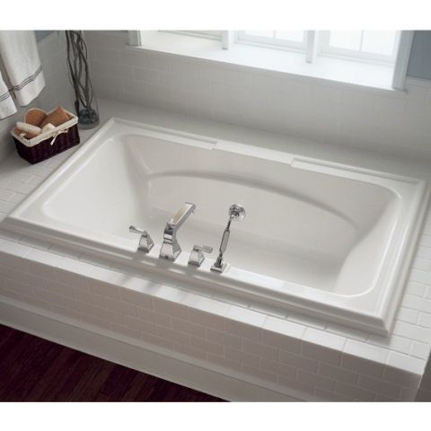 Features:  -Drop-in tub for two with center drain and dual backrests.  -Acrylic with fiberglass reinforcement.  -Dual, molded-in armrests.  -Dual, integrated faucet/accessory deck areas.  -Pre-leveled