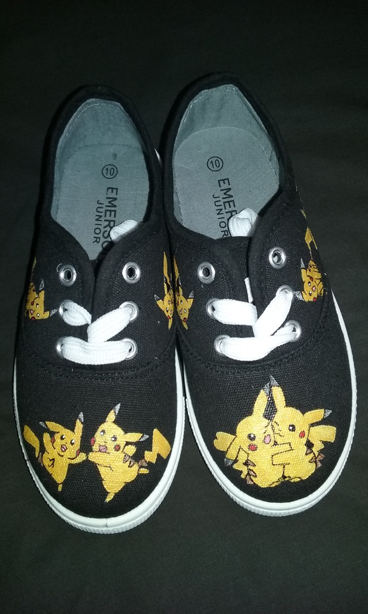 Pikachu!! Pokemon Go Beta Test will be live in Australia soon, I cant wait.  Sooo, I did the awesome thing and made my kid some awesome shoes.  He also starts school tomorrow, so why not.