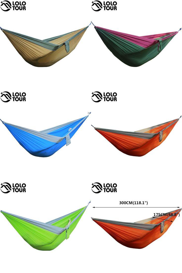 [Visit to Buy] Portable 2 Person Parachute Hammock Tent Double Garden Hamaca Rede De Dormir Camping Hamac  300*175cm European Standard Hamak #Advertisement