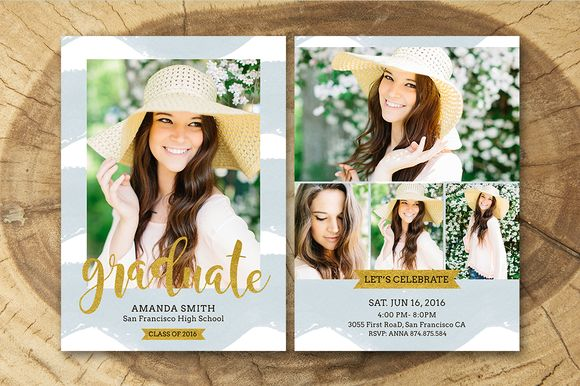Senior Graduation Announcement 005 by Salsal Design on @creativemarket