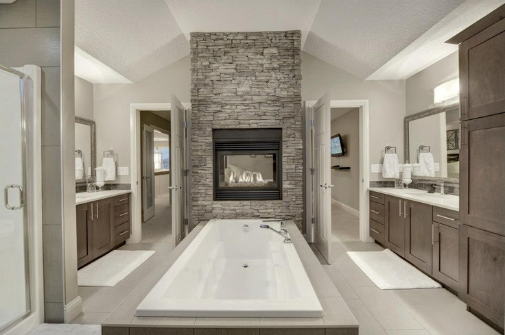 Masterbath with double sided fireplace