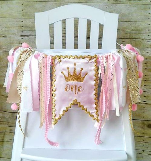 Crown Pink & Gold First Birthday Party High Chair Banner-Crown Pink and Gold…