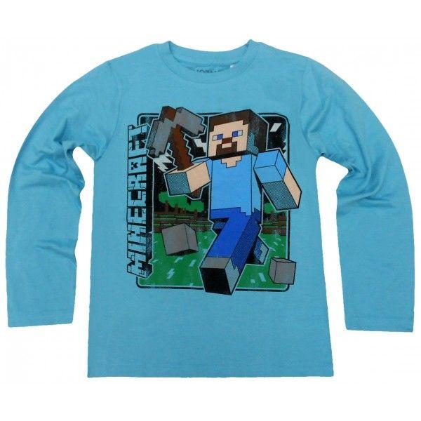 Minecraft langærmet t-shirt i lyseblå med steve på trøjen