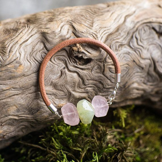 natural pink quartz and prehnite leather bracelet  by MyROCKandSOUL