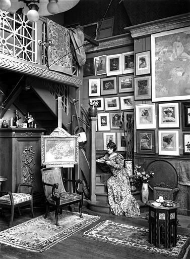 Interior of a victorian home ... personal art gallery... library