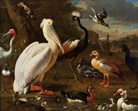 "Melchior de Hondecoeter. ""Landscape with Birds."" 17th C. Oil on canvas."