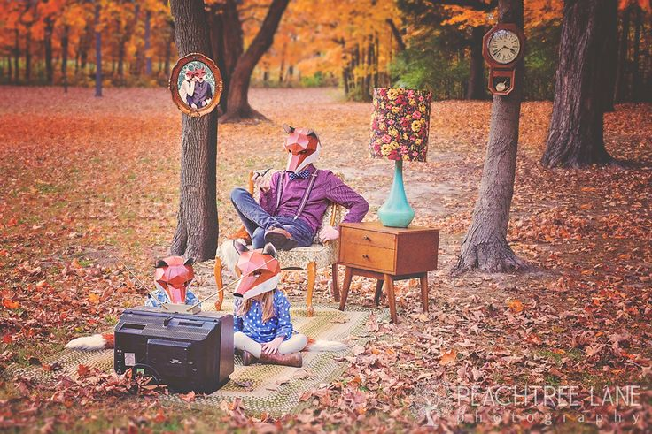 Peoria IL Photography fox masks children outdoor fall