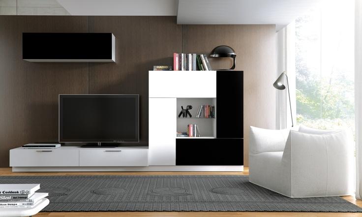 COMPOSICIÓN 803 B Composición modular de líneas rectas y modernas en colores Blanco y Negro. Sus dimensiones (306 cm de ancho) permiten adaptarla a todo tipo de ambientes. Ideal para aquellas personas que buscan un salón original y práctico.