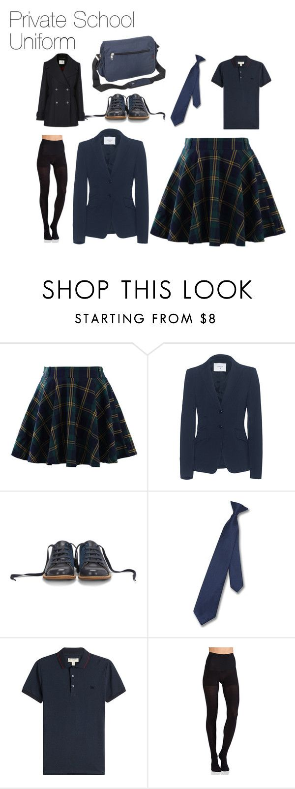 """Private School Uniform"" by katniss389 on Polyvore featuring Chicwish, Dondup, Bill Blass, Napoli, Burberry, Commando, L.K.Bennett and Everest"