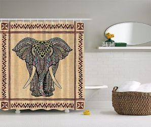 Elephant Ethnic Tribal Indian Shower Curtain Extra Long 84 Inch