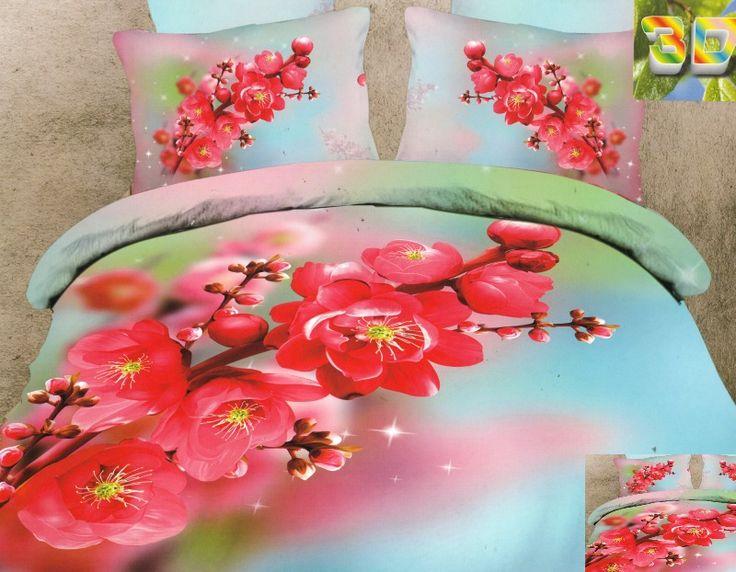Satynowa błękitna pościel w różowe storczyki