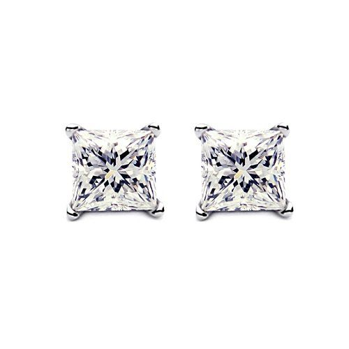2ct Princess cut Diamond stud Earring 14k gold