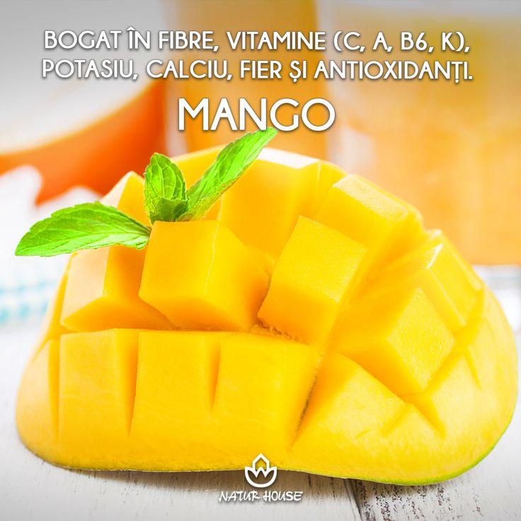 Fructul de mango este bogat în fibre, vitamine (C, A, B6, K), potasiu, calciu, fier și antioxidanți. Mango ajută la reglarea nivelului de glucoză, menține sănătatea ochilor și a tractului digestiv și contribuie la formarea colagenului în organism. Ca orice fruct, se consumă în cantități moderate, de preferință proaspăt. #sănătate #nutriție #fructe #dietă #slăbire