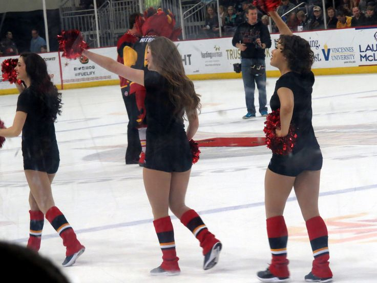https://flic.kr/p/DyADXY | The INDY FUEL cheerleaders between periods. | Of course there wasn't much movement because the ice but they were shaking their pom poms a lot. GO INDY FUEL!