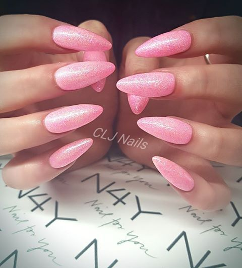 Gel nails pink glitter almond shaped all with products from nail4you