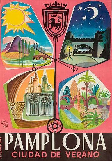 Vintage Travel Poster - Pamplona - Ciudad de Varano - Spain - 1950s.