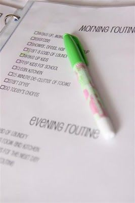 Daily to do pages with pre-printed daily tasks (including cleaning routine) and space to fill in other to do items - this site also has links to printable cleaning checklists!!