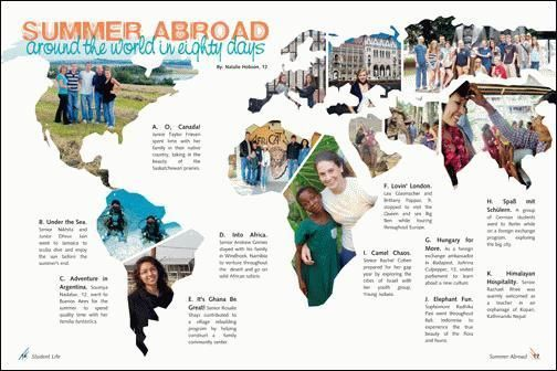Overall Design-I really like the spread showing where students went over the summer. It is an unusual spread but makes for a very interesting layout that will capture the reader's attention.: