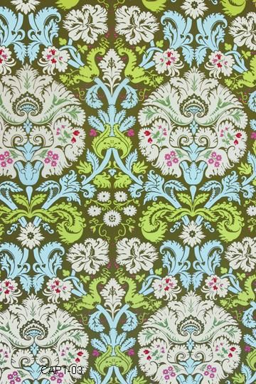 Amy Butler Fabric - Acanthus in Olive from Belle