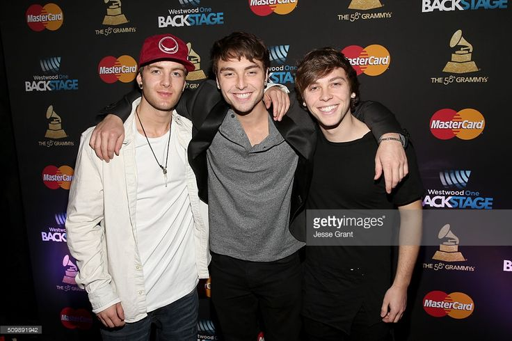 Drew Chadwick, Wesley Stromberg and Keaton Stromberg of Emblem3 attend the Westwood One Radio Remotes during The 58th GRAMMY Awards at Staples Center on February 12, 2016 in Los Angeles, California.