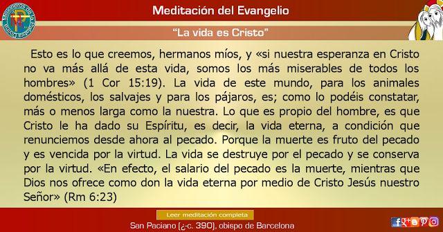 """MISIONEROS DE LA PALABRA DIVINA: MEDITACIÓN DEL EVANGELIO - """"La vida es Cristo"""""""
