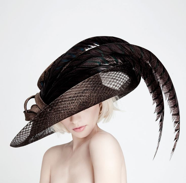 Dillon Wallwork - Bitter chocolate parisisal/lurex/sinamay trimmed with Lady Amhurst feathers. #passion4hats