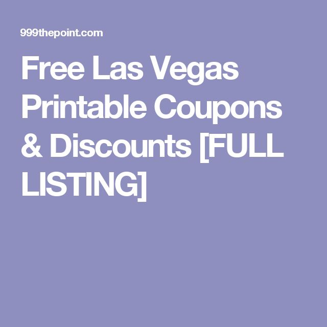 Cheap las vegas coupons