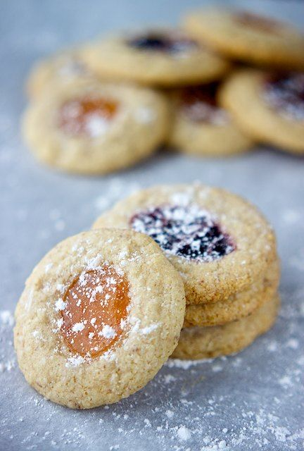 vegan gluten free almond thumbprint cookies