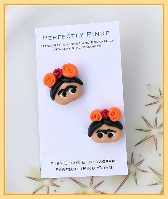 Cute Frida Kahlo Polymer Clay Post style Pinup Earrings